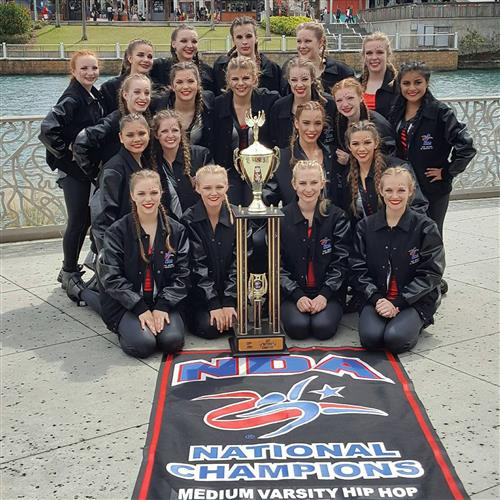 2016-2017 Dance Team with NDA National Championship trophy