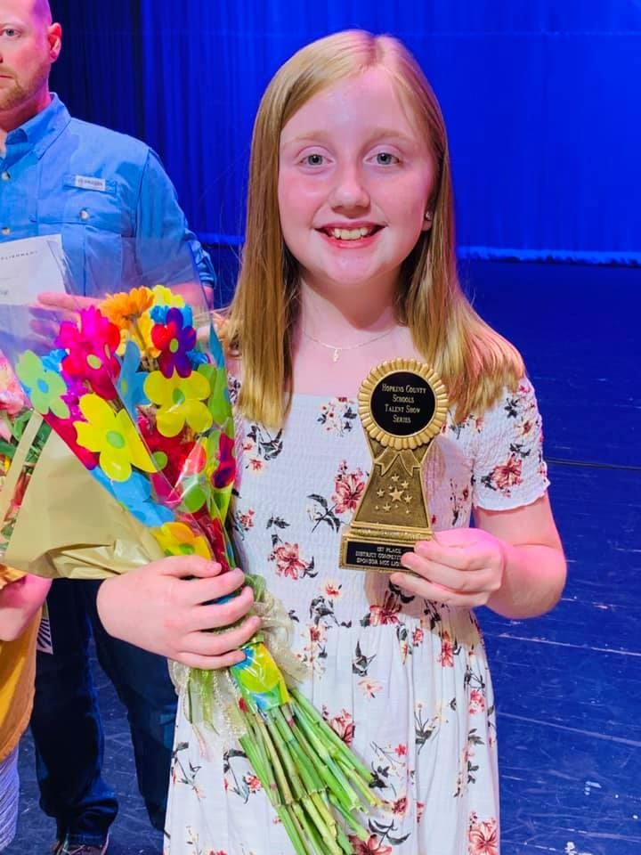 Congratulations Bailey for your first place win in the district talent show! We are so proud of you! We also want to honor Jaxon and Kira for your fabulous performances! You all did amazing!
