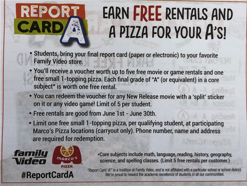 Family Video Free Rentals and a Pizza for your A's