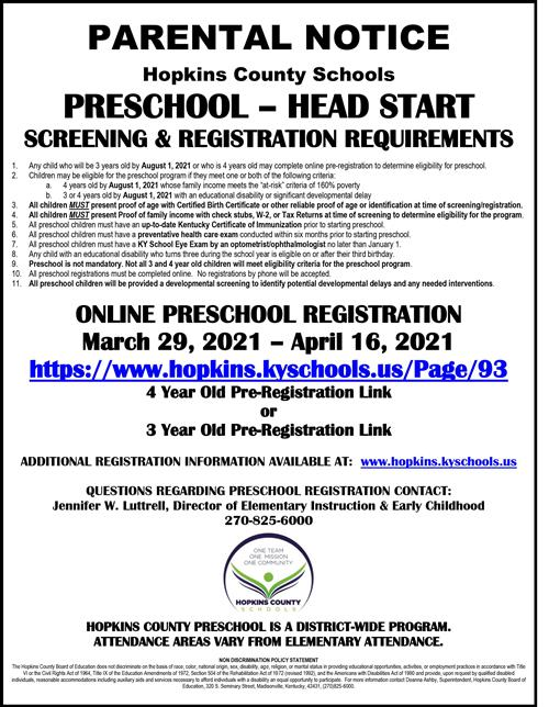 Parental Notice of Preschool - Head Start Screening and Registration Requirements