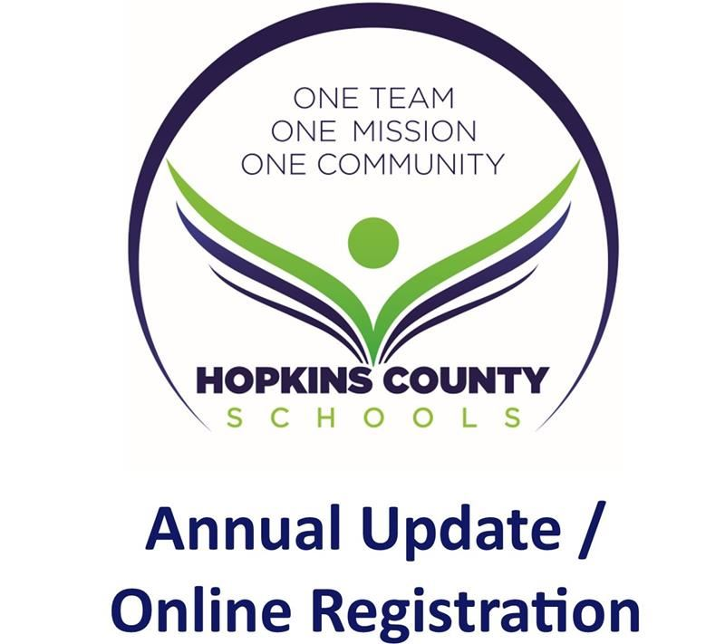 Hopkins County Schools logo with the words Annual Update / Online Registration