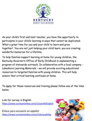 Flyer from Ky Office of Early Childhood - English