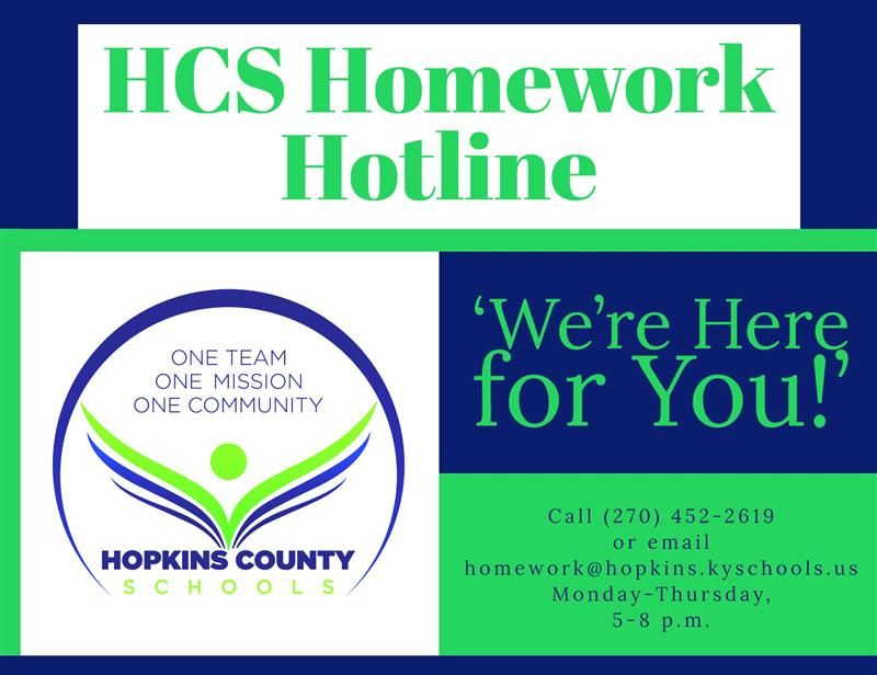 Homework Hotline 5-8 p.m. Mondays thru Thursdays