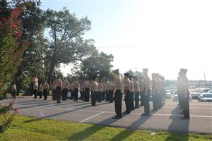 MNHHS Navy JROTC Unit stands in formation