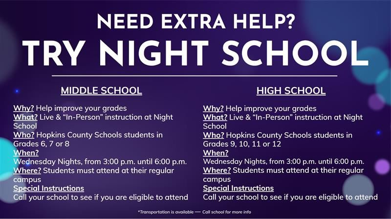 Night School Sessions Offered