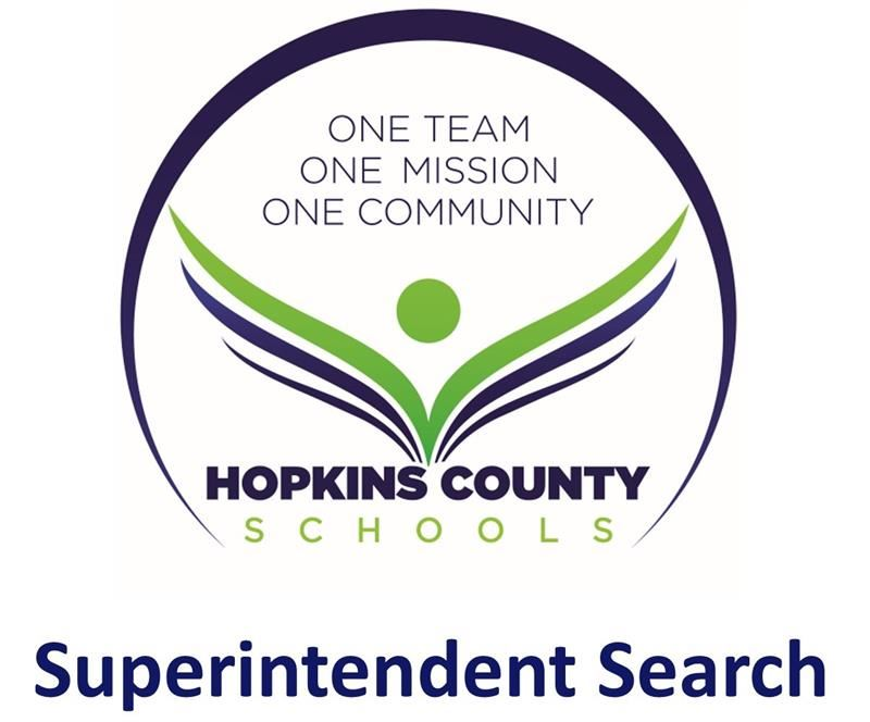 "The words ""Superintendent Search"" with the Hopkins County Schools logo"