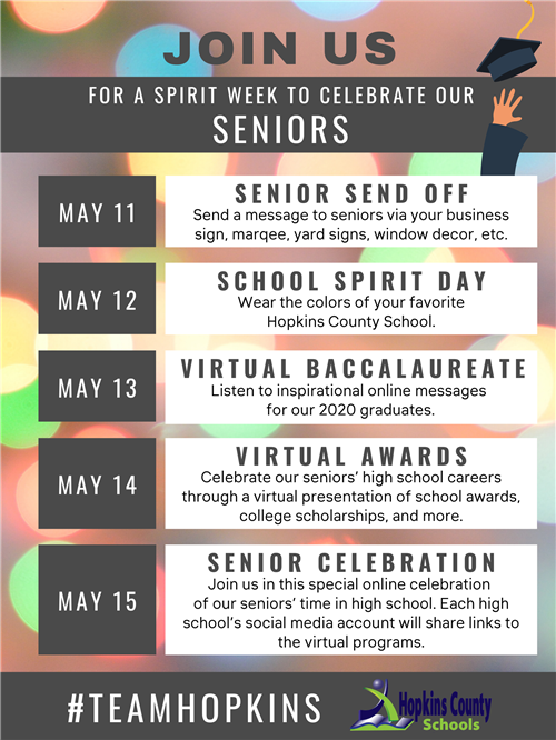 Senior Spirit Week Schedule